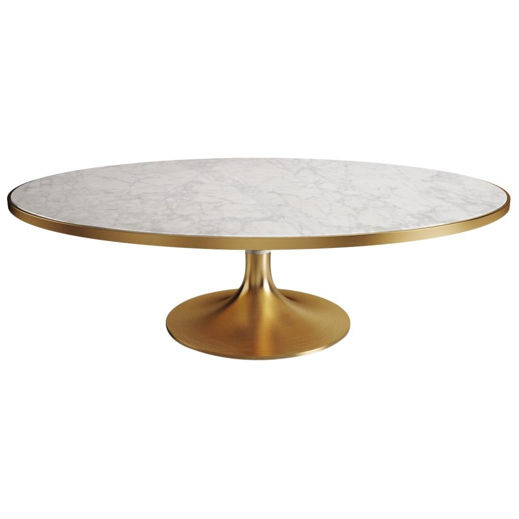 21th Century Brass Caddo Dining Table Calacatta Marble