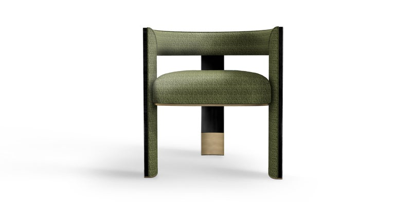 Portuguese 21th Century Brooklyn Dining Chair Black Walnut Linen Aged Brushed Brass For Sale