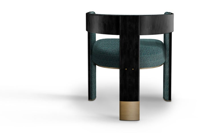 21th Century Brooklyn Dining Chair Black Walnut Linen Aged Brushed Brass In New Condition For Sale In RIO TINTO, PT