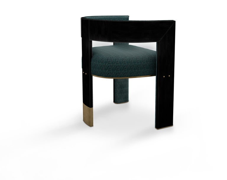 Contemporary 21th Century Brooklyn Dining Chair Black Walnut Linen Aged Brushed Brass For Sale