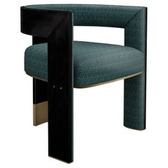 21th Century Brooklyn Dining Chair Black Walnut Linen Aged Brushed Brass
