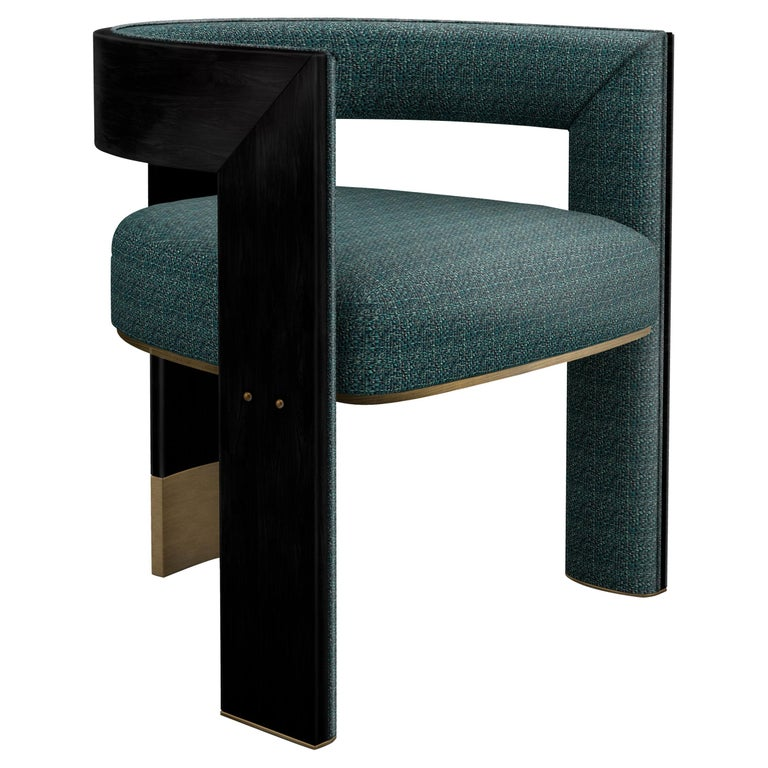 21th Century Brooklyn Dining Chair Black Walnut Linen Aged Brushed Brass For Sale