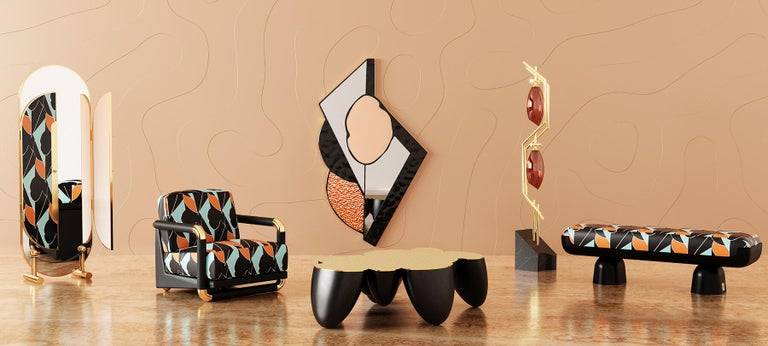 21st Century Contemporary Leopard Animal Print Velvet Bench Black Lacquered Base In New Condition For Sale In Porto, PT