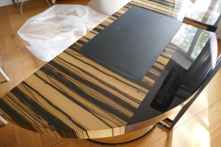 21th Century Desk Wight Ebony and Black Leather with Metal Leg by Aymeric Lefort For Sale 2