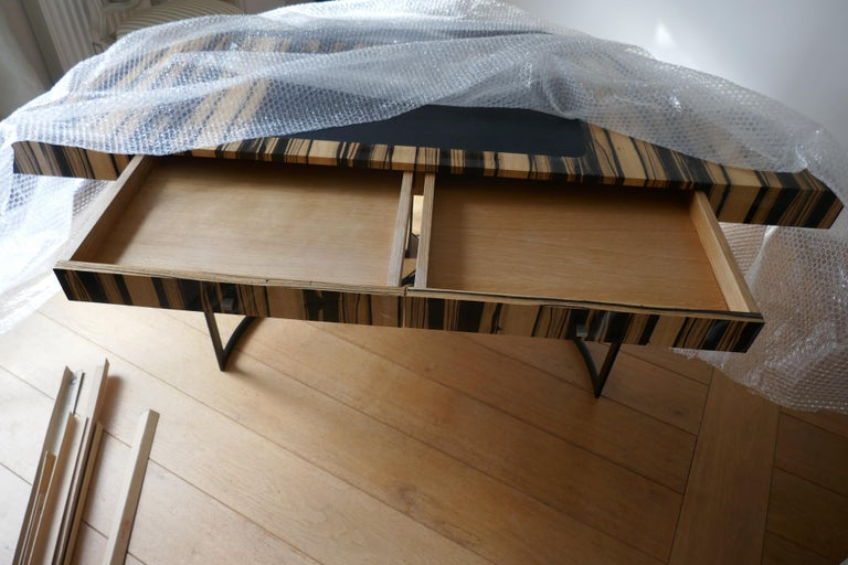 21th Century Desk Wight Ebony and Black Leather with Metal Leg by Aymeric Lefort For Sale 3