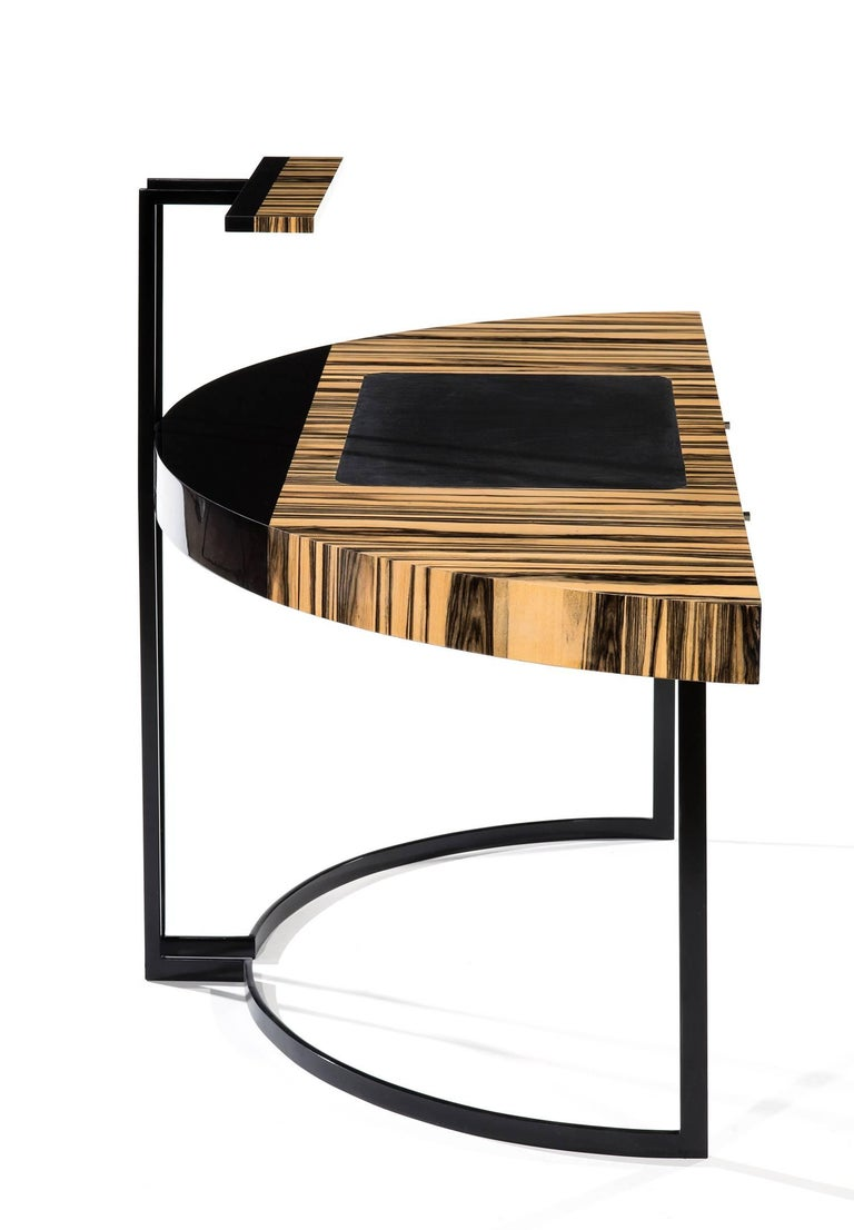 Modern 21th Century Desk Wight Ebony and Black Leather with Metal Leg by Aymeric Lefort For Sale