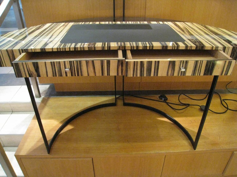 Marquetry 21th Century Desk Wight Ebony and Black Leather with Metal Leg by Aymeric Lefort For Sale