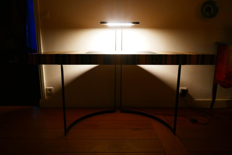 Contemporary 21th Century Desk Wight Ebony and Black Leather with Metal Leg by Aymeric Lefort For Sale