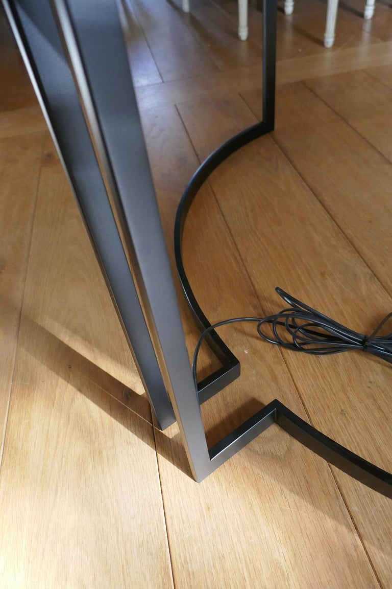21th Century Desk Wight Ebony and Black Leather with Metal Leg by Aymeric Lefort For Sale 1