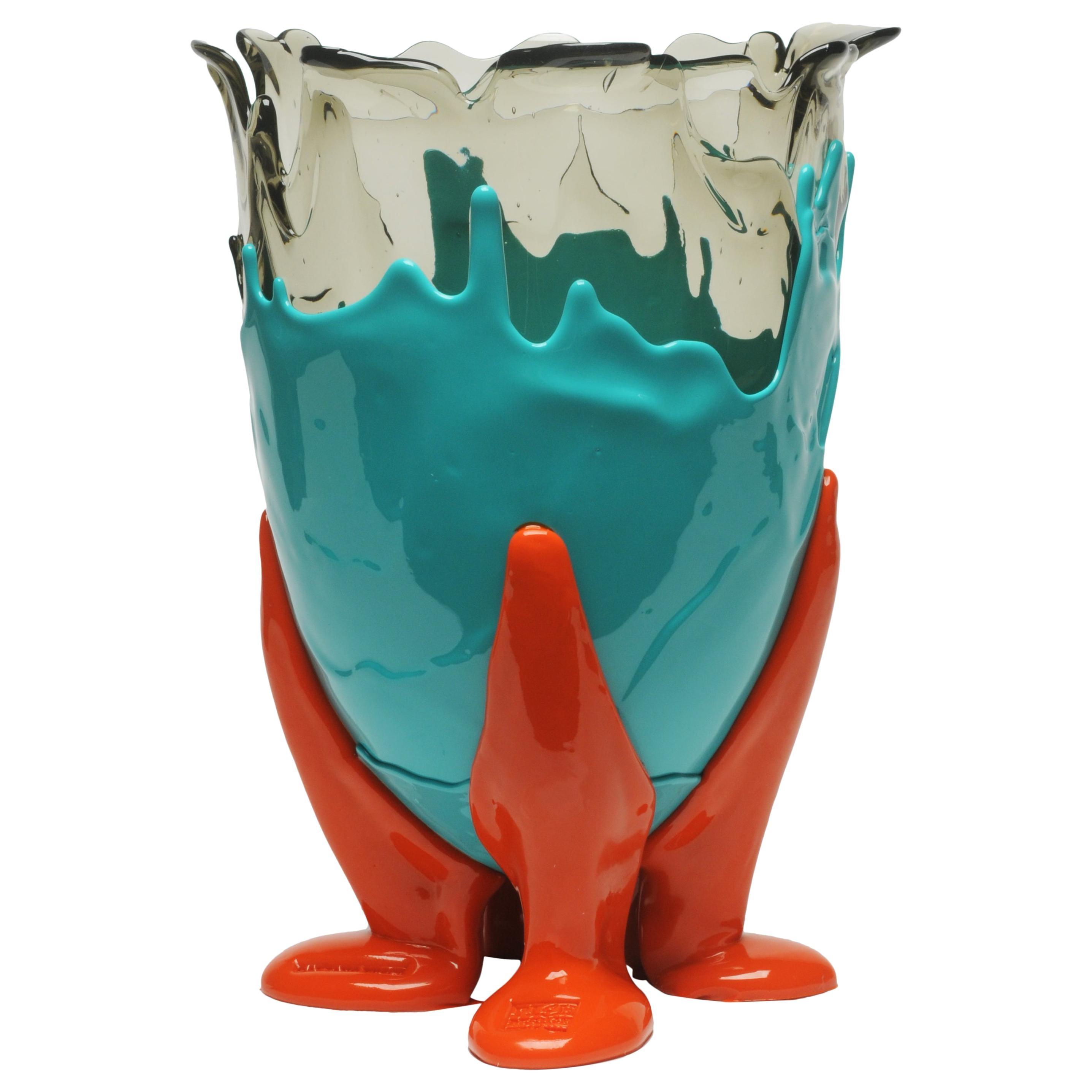 21th Century Gaetano Pesce Clear L Vase Soft Resin Turquoise Orange