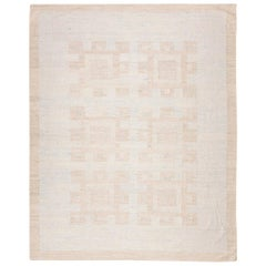 21st Century Handmade Flat-Weave Rug Scandinavian Design over Soft Colors
