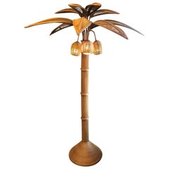 21st Century Handmade Palm Bamboo Floor Lamp