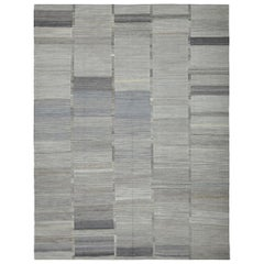 21st Century Handwoven Modern Afghan Kilim Carpet Shades of Gray