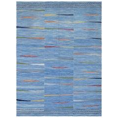 21st Century Handwoven Modern Persian Kilim Carpet Blue Multicolored