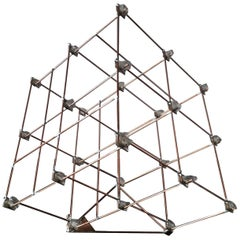 21th Century Italian LED Lamp Sculpture in Glass and Copper