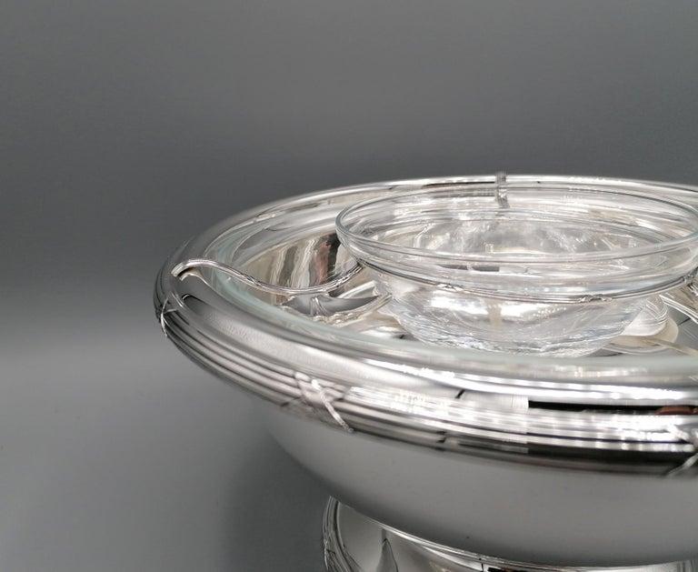 Louis XVI 21th Century Italian Sterling Silver Gianmaria Buccellati Caviar Bowl For Sale
