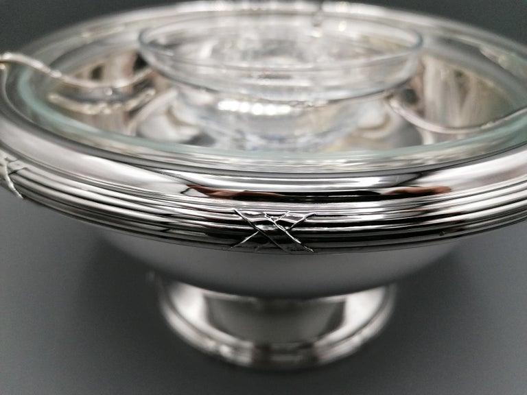 21th Century Italian Sterling Silver Gianmaria Buccellati Caviar Bowl In New Condition For Sale In VALENZA, IT