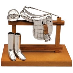21st Century Italian Sterling Silver Miniature of Saddle, Boots, Hat and Whip