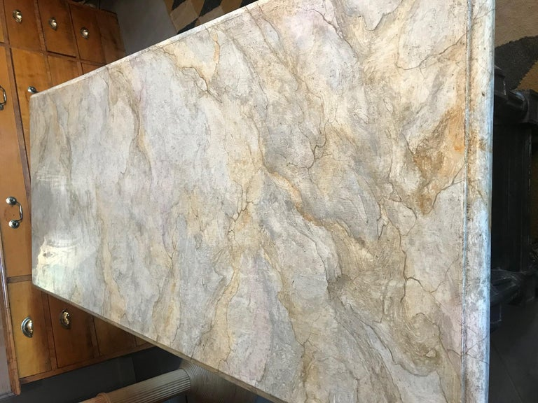 21st Century Italian Wood and Marble Imitation Console Table For Sale 6