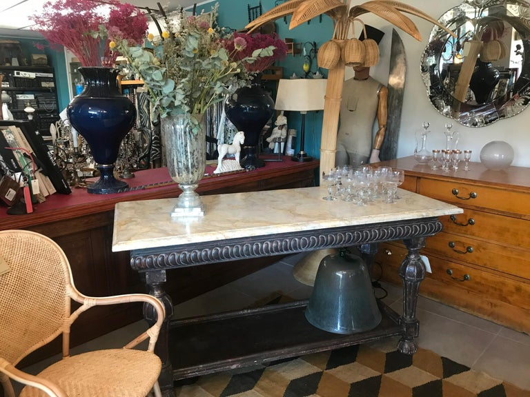 21st Century Italian Wood and Marble Imitation Console Table For Sale 9