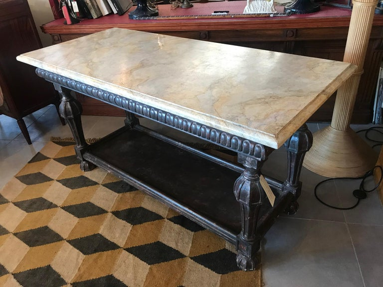 Contemporary 21st Century Italian Wood and Marble Imitation Console Table For Sale