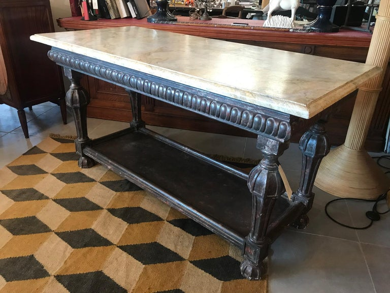 21st Century Italian Wood and Marble Imitation Console Table For Sale 1