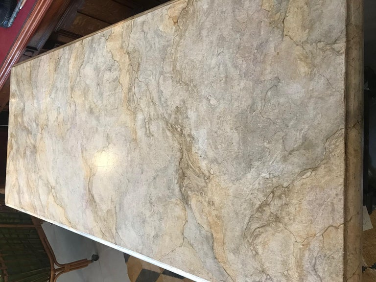 21st Century Italian Wood and Marble Imitation Console Table For Sale 2