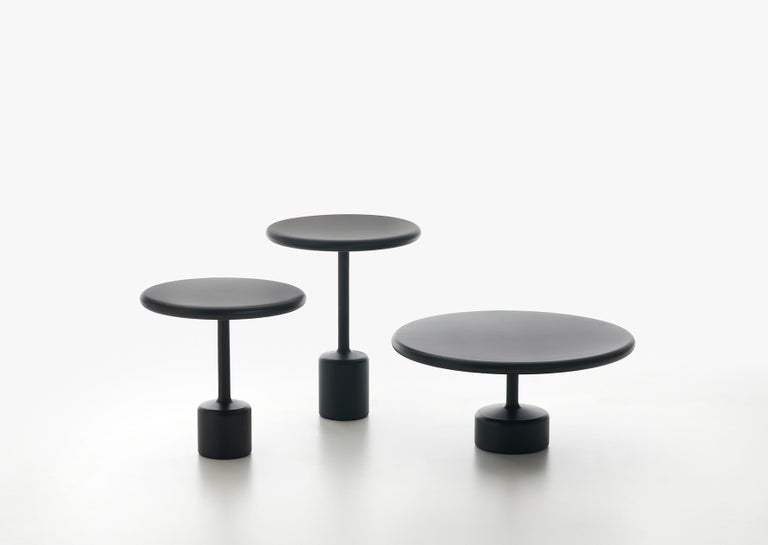 Tavolotto is a set of 3 tables - same look, different proportions. Dide table, center low table, accessory table. Tavolotto appears monolithic, almost as if it were made of a single block, though it is not. It is welded, then polished so perfectly