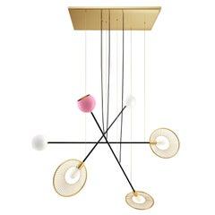 21th Century Melrose Suspension Lamp Brass Aluminum Lacquered