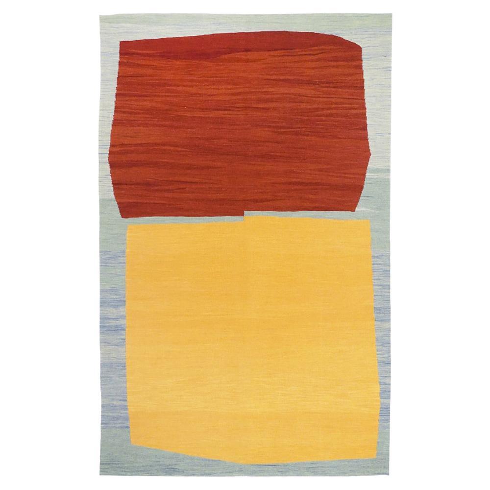 21st Century Modern Abstract Handwoven Anatolian Kilim Carpet