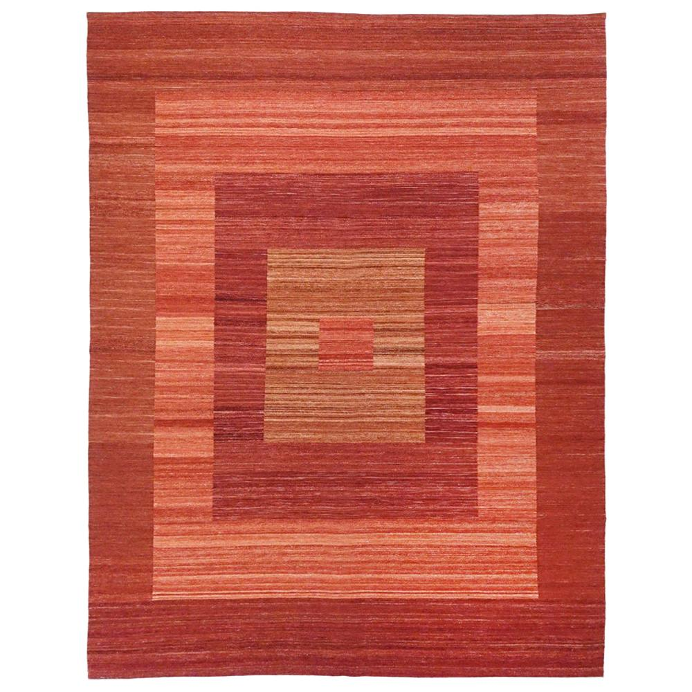 21st Century Modern Abstract Handwoven Two-Tone Kilim Carpet Afghanistan
