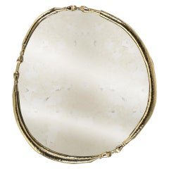 21th Century Oval La Jolie Aged Bronze Mirror Polished Hammered Brass
