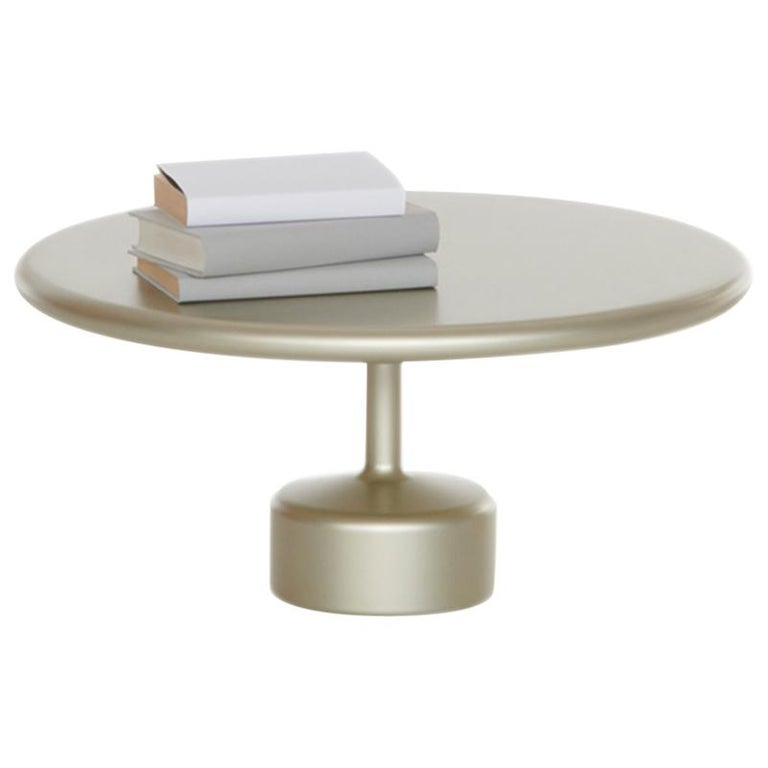 "FUCINA ""TAVOLOTTO"" by Maddalena Casadei, Low Coffee Table Metal Champagne For Sale"