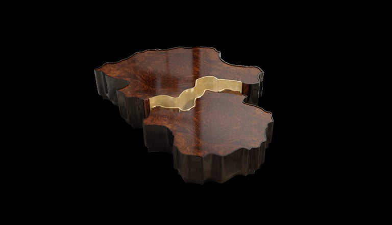 Portuguese 21st Century Walnut Wood Horizon Center Table Set For Sale