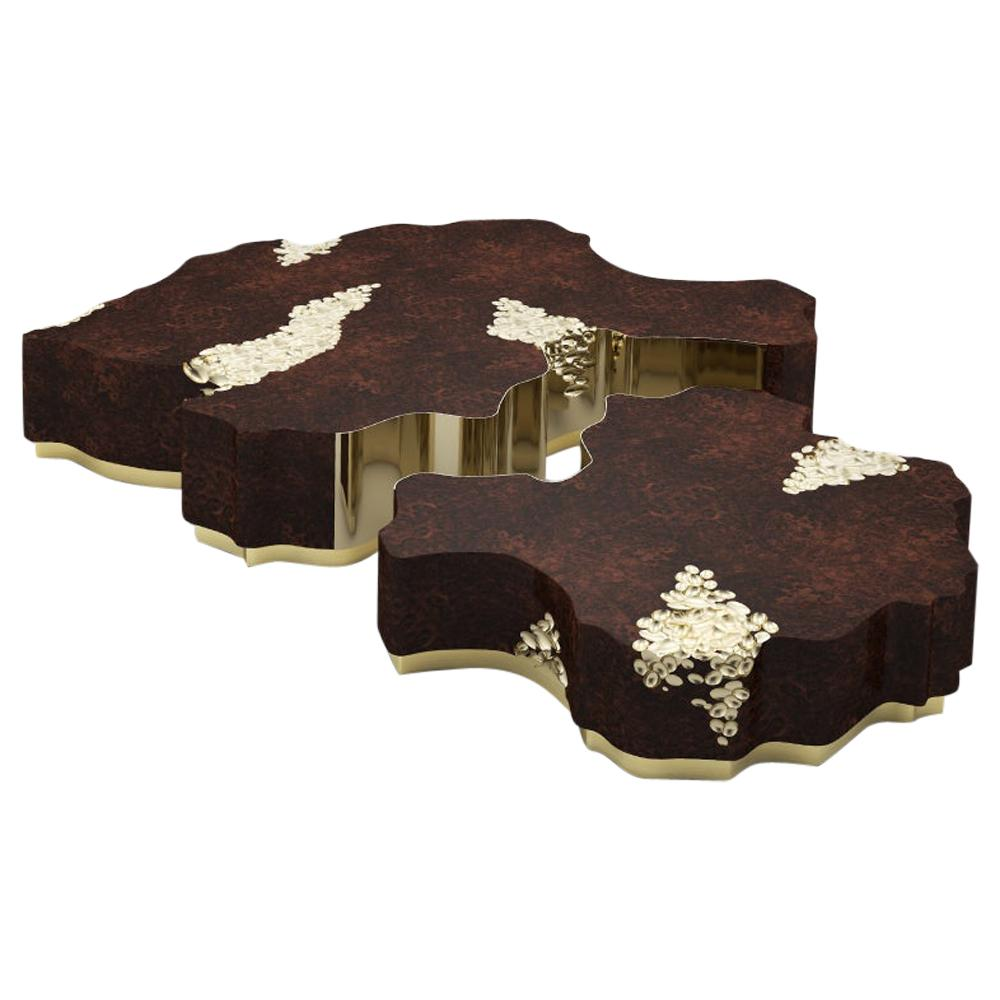 21th Century Walnut Wood Horizon II Center Table Set