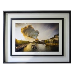"""21th Digital French Printing in Platinum Palladium, """"Notre Dame Cathedral Fire"""