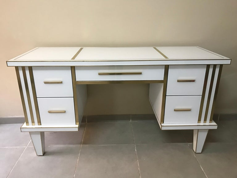Modern White Glass and Mirrored Desk with Brass, Commode Vanity, Chest of Drawers For Sale