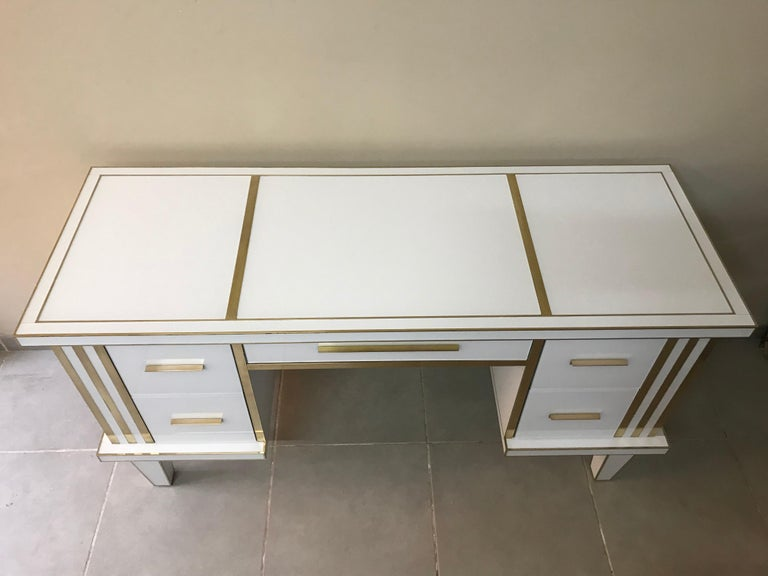 European White Glass and Mirrored Desk with Brass, Commode Vanity, Chest of Drawers For Sale