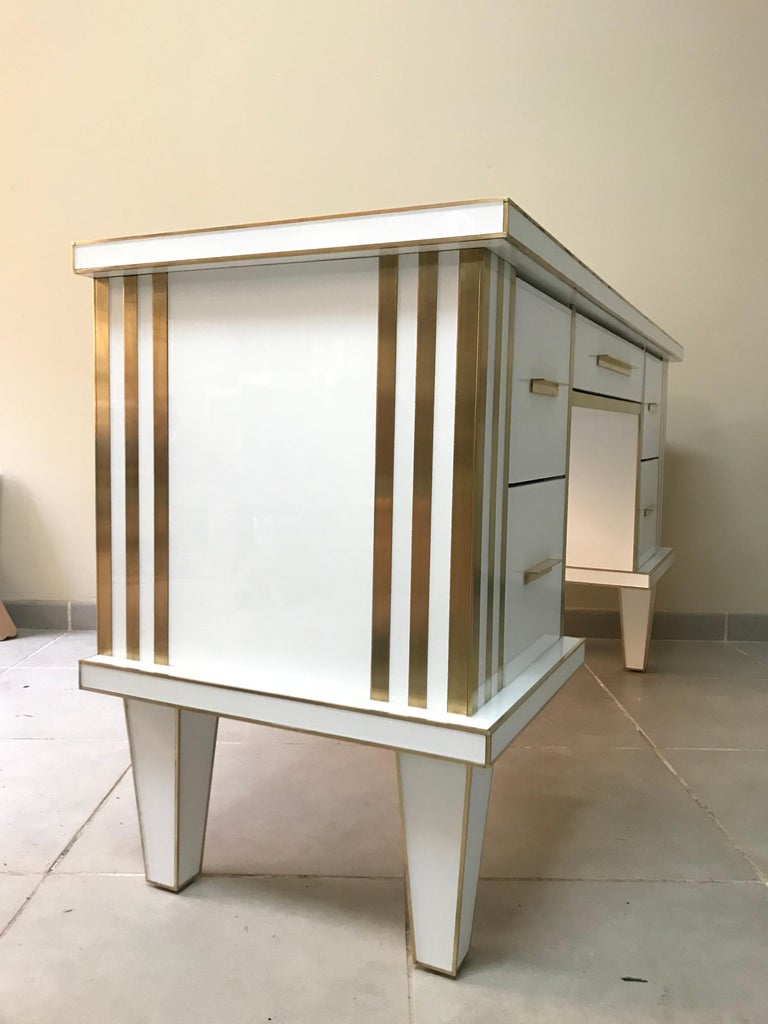 Inlay White Glass and Mirrored Desk with Brass, Commode Vanity, Chest of Drawers For Sale