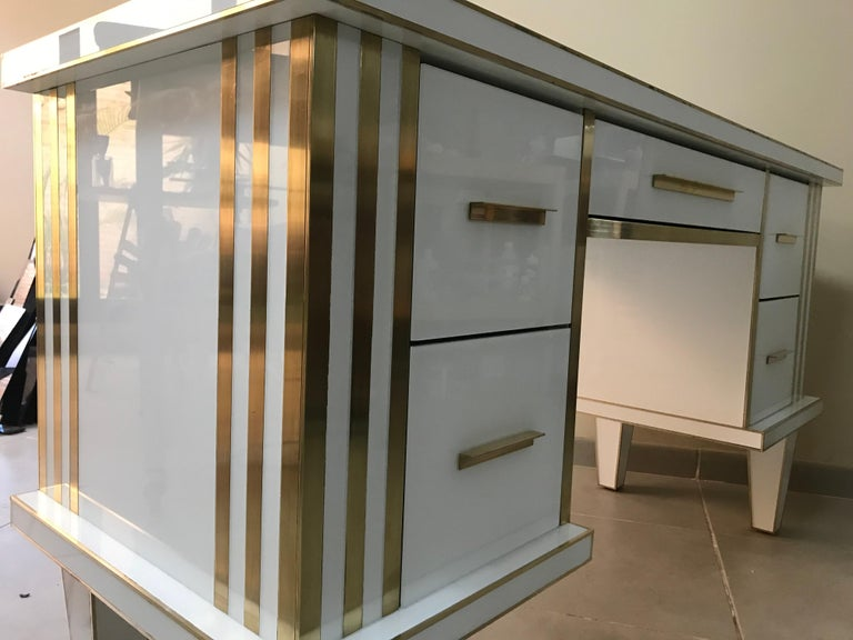 White Glass and Mirrored Desk with Brass, Commode Vanity, Chest of Drawers In Excellent Condition For Sale In Miami, FL