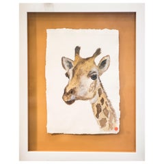21st Century Ocher and Gray Wattercolor Giraffe Portrait, Chinese Author, Signed