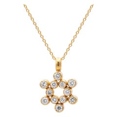 GURHAN 22-24 Karat Hammered Yellow Gold and White Diamond Pendant Necklace