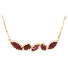 22-24 Karat Hammered Gold and Faceted Ruby Bar Pendant Necklace