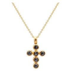 22-24 Karat Hammered Gold and Rosecut Black Diamond Pendant Necklace