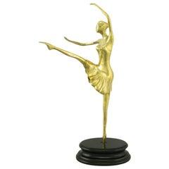 """22"""" Brass Ballerina En Pointe Atop Black Lacquered Base"""
