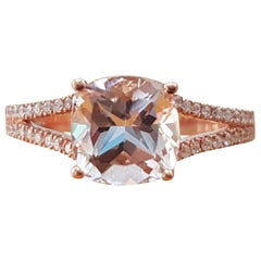 2.2 Carat 14 Karat Rose Gold Cushion Morganite Vintage Engagement Ring