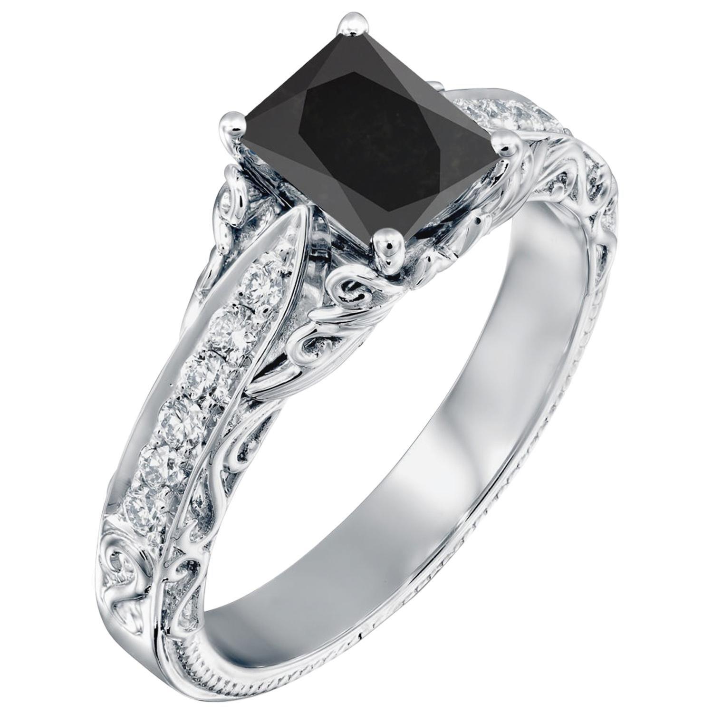 2.2 Carat 14 Karat White Gold Certified Radiant Black Diamond Engagement Ring