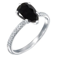 2.2 Carat 14 Karat White Gold Certified Pear Black Diamond Engagement Ring
