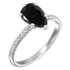 2.2 Carat 14 Karat White Gold Certified Pear Black Diamond Engagement Ring