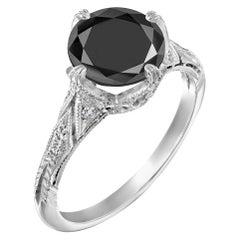 2.2 Carat 14 Karat White Gold Certified Round Black Diamond Engagement Ring
